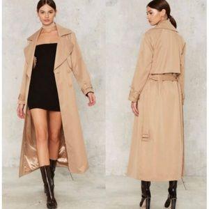 Nasty Gal collection Trench coat with tie waist Sz. Medium EUC